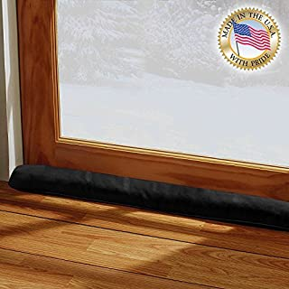 (90cm L - Single, Black) - LAMINET - 100% Organic Natural - Black - Door & Window Draught Stopper - Made in USA