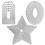 SourceTon - Fustelle in 3 diverse forme di stencil in metallo (finestra, onda ovale e stella), 19 pezzi di strumenti per goffratura per scrapbooking, album di carta, fai da te e creazione di biglietti