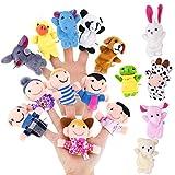 Pllieay 16 Stücke Finger Puppen Set einschließlich 10 Stücke Tiere + 6 Stücke People Family Members Educational Toys