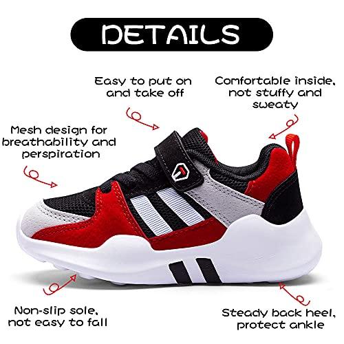 Zapatillas Deportivas Niño 27 Infantil Zapatillas Sneakers Zapatillas Running Unisex Zapatos Deportivos Running Shoes Calzado Trekking Ligero Transpirables Rojo