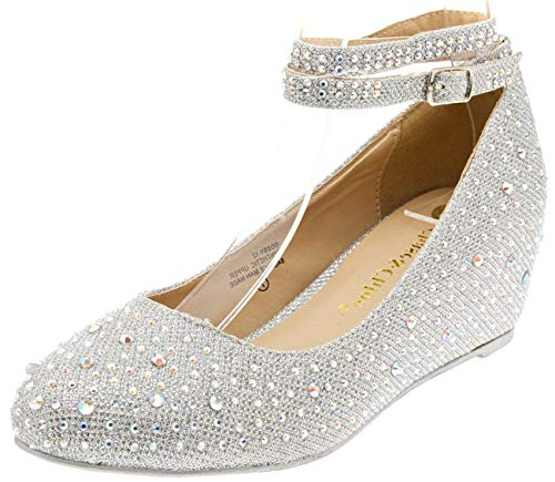 Chase & Chloe Womens 36-BOBBY12 Round Toe Med Low Heel Wedge Pump, Silver, 7.5 B (M) US