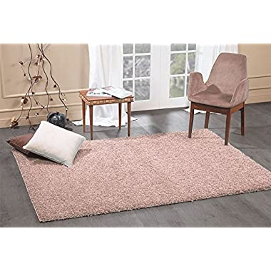 A2Z Rug Cozy Shaggy Collection 5x8-Feet Solid Area Rug - Taupe