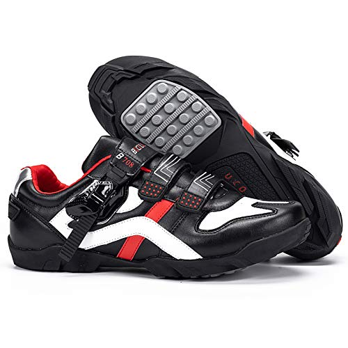 BUCKLOS Road Cycling Shoes Men Women, Precise Buckle Strap Mountain Bike Shoes Sneakers Spin Shoes MTB Bicycle Shoes Compatible with Peloton SPD Look Delta(Lock Free Cycling Shoes,UK9)