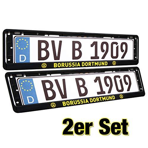 Borussia Dortmund Kentekenplaathouder, nummerplaathouder, kentekenversterker, kentekenframe set van 2 BVB 09 Plus 2 x gratis sticker Forever Dortmund