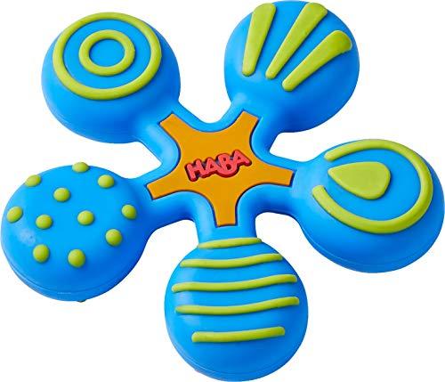 HABA 304289 - Greifling Stern blau, Baby- und Kleinkindspielzeug aus Kunststoff, hilft Babys ab 6 Monaten beim Zahnen, spülmaschinengeeiget