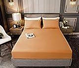 HPPSLT Protector de colchón, algodón, poliéster, Sábana de Cama Color Puro algodón-Albaricoque_200cm × 220cm