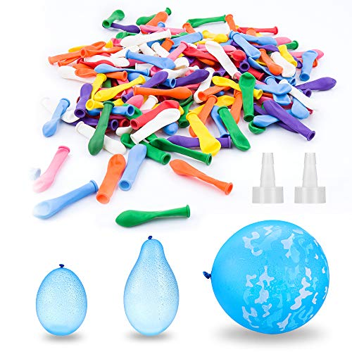 Elegear Wasserbomben 200x Wasserballon mit 1x Groß Wasserbomben und 2X Wasserbomben Schnellfüller, Wasser-Bomben Wasserballons Bunt Gemischt