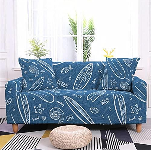 Fundas de Sofá Elastica 1 PlazasPatrón de Hoja Azul Funda Cubre Sofa Regalar 2 Funda de Cojines Funda para Sofá Funda de sofá de Sillón Antideslizante Protector Cubierta de Muebles