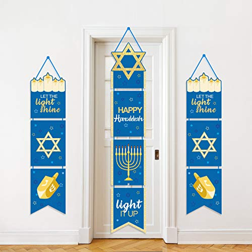 Happy Hanukkah Banner Chanukah Decorations Hanukkah Porch Hanging Welcome Sign for Home Holiday Party Outdoor Decor