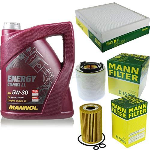 Filter Set Inspektionspaket 5 Liter MANNOL Motoröl Energy Combi LL 5W-30 API SN/CF MANN-FILTER Luftfilter Innenraumfilter Ölfilter