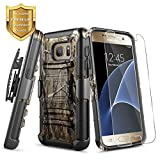 NageBee Case for Samsung Galaxy S7, Belt Clip Holster with Tempered Glass Screen Protector, Defender Heavy Duty Shockproof Kickstand Dual Layer Rugged Armor Durable Combo Phone Case -Camo
