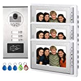 AMOCAM Apartment Video Intercom System, Wired 7 Inches Monitor Video Door Phone Doorbell for 3 Units Apartment, Monitoring, RFID Keyfob Unlock Entry, Dual Way Door Intercom with 3-Screen