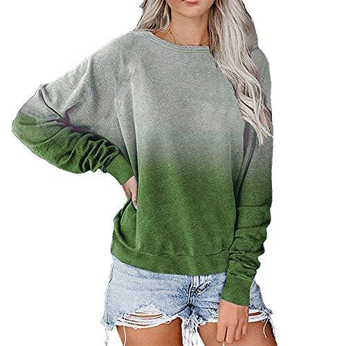 SMTM Damska koszulka z długim rękawem Gradient damski sweter z długim rękawem, luźny sweter, bluzka, na co dzień