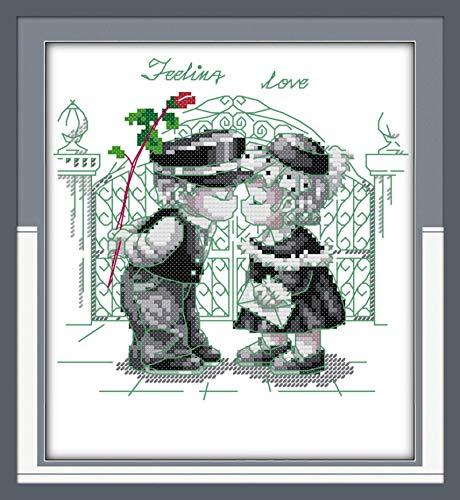N/A Kit de Punto de Cruz Niño Bebé 14ct 11ct Impresión Blanca Hilo de algodón Bordado DIY Costura Hecha a Mano Decoración del hogar Hilo de algodón B