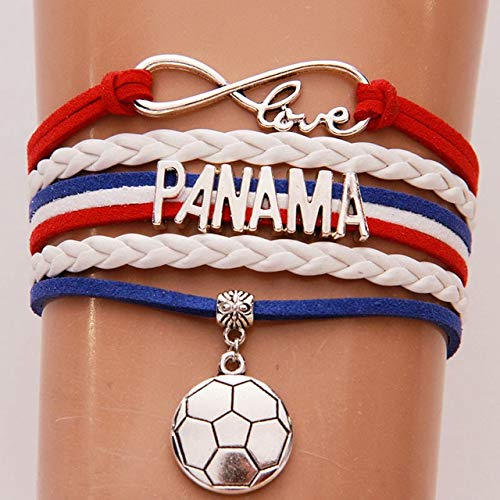 Joulee Infinity Love Panama Bracelets Bangles Soccer Charm Braided pu Leather Bracelet Jewelry for Women Men Fans - (Metal Color: As Picture)