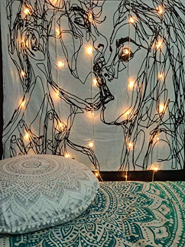 ICC Men Women Kiss Tapestry Wall Hanging Couple Kissing Abstract Sketch Art Lovers Dorm Decor Living Room Bedroom Decoration Hippie Man Woman Large Psychedelic Tapestries 54 X 60 IN (Black And White)