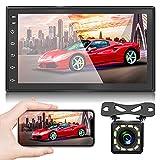 NHOPEEW Radio de Coche 2 DIN Android 9.1 Car Stereo de 7 Pulgadas HD Pantalla Táctil Bluetooth Manos Libres Radio Auto con WiFi/Navegación GPS /RDS / USB/AUX IN Mirror Link/Cámara de Visión Trasera