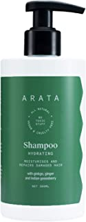 Arata Natural Hydrating Hair Shampoo with Ginkgo,Ginger & Indian Gooseberry for Men & Women || All Natural,Vegan & Cruelty Free || Moisturises & Repairs Damaged Hair -300 ml