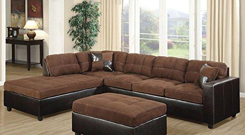 Coaster Mallory Casual Sectional Sofa, Chocolate