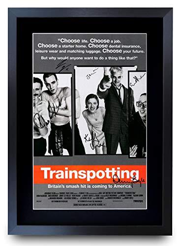HWC Trading A3 FR Trainspotting The Cast Robert Carlyle Ewan McGregor, Poster Stampato con autografo per i Fan del Film Memorabilia – A3 incorniciato