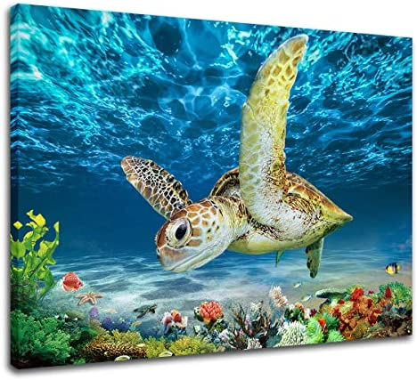 Ocean Sea Turtle Wall Art Turtle Canvas Artwork Poster Colorful Fish Coral Beach Theme Pictures product image