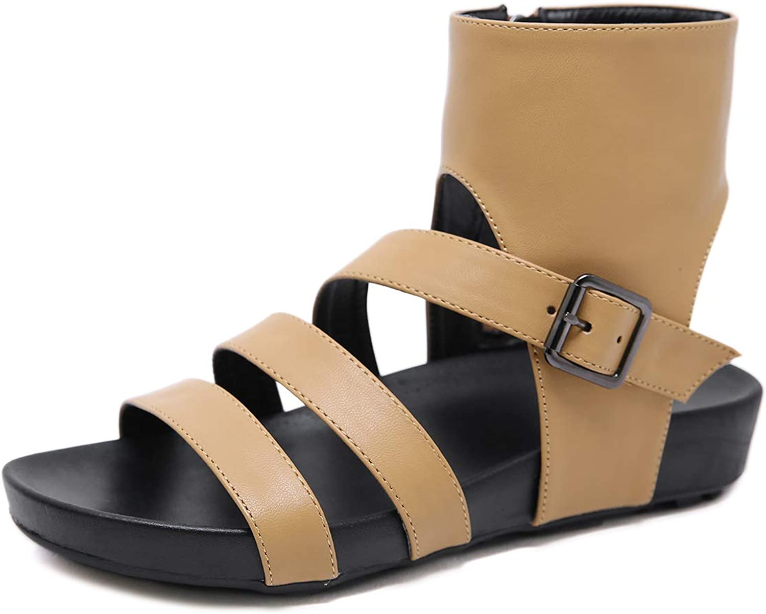Soulength Women's Open Toe Leather Sandals Summer Fashion Wedge Flat Sandals(808-2,Black)