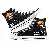 NXMRN Love Live Zapatos Chic Verano Retro Blossom Black Canvas Shoes Print Beige High Sneakers-40