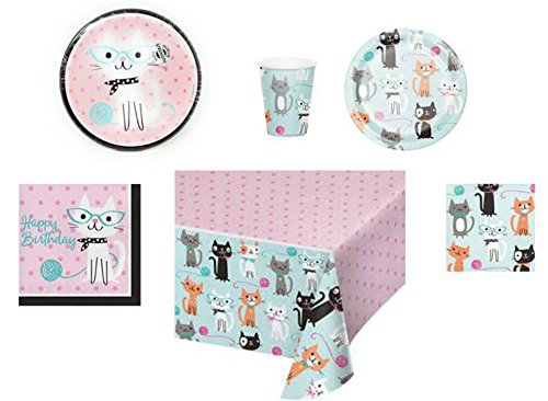Disposable Plates, Napkins, Cups, Tablecloth Cat Themed Purr-Fect Birthday Party Supplies, 6-Piece Bundle