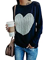 Exlura Women's Casual Sweater Heart Pattern Patchwork Pullover Long Sleeve Crew Neck Knits Loose Top Navy Blue