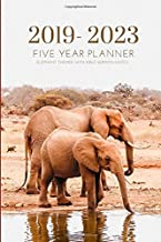 2019-2023 Five Year Planner Elephant Themed With Bible Sermon Notes: Pocket Mini Academic 60 Months Calendar; Slim Agenda Planner; Small Journal & Purse Diary; Monthly Schedule Organizer With Quotes