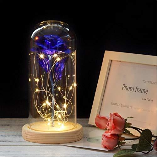 Layyqx Rose in glazen kolf nachtlampje rode roos met LED-licht in glazen koepel voor bruiloft Moederdaggeschenk 22 x 11,4 cm