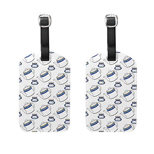 Malerei Teekanne 2 Stück PU Leder Gepäckanhänger ID Tags Visitenkarte zum Aufhängen an Reisetasche Koffer Gepäck
