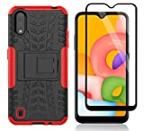 Yiakeng Samsung Galaxy A01 Case with Tempered Glass Screen Protector, Shockproof Silicone Protective with Kickstand Hard Phone Cover for Samsung Galaxy A01 (Red)