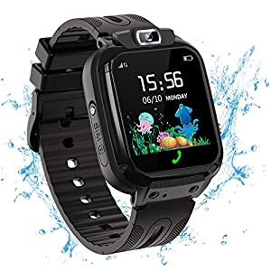 Vannico Kids Smart Watch Phone with IP68 Waterproof LBS Tracker Games Alarm SOS HD Touch Screen Smartwatch for Kids 3-12 Years Boys Girls Children Toys Gifts (Black)