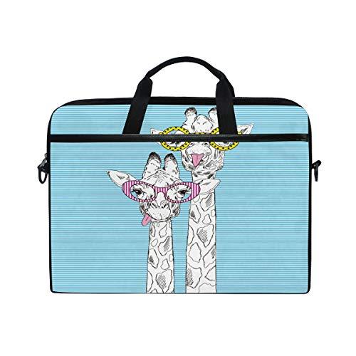 Mnsruu Laptop-Tasche mit lustigem Giraffenkopf-Streifen, 38,1 cm (15 Zoll), Aktentasche, Messenger-Notebooktasche, Computer-Tasche, Schultergurt, Griff für Männer, Frauen, Jungen, Mädchen