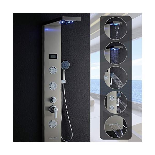 AuraLum 5-en-1 Columna de Ducha Hidromasaje con LED – Panel de Ducha con Cascada, Pantalla LCD Inteligente, Grifo Bañera…