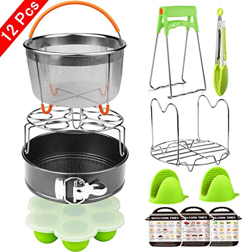 Aiduy 12 Pieces Pressure Cooker Accessories Set Compatible with Instant Pot 6,8Qt-Steamer Basket,Non-stick Springform Pan,Egg Bites Mold, Egg Rack, Steamer Trivet, Kitchen Tongs,3 Cheat