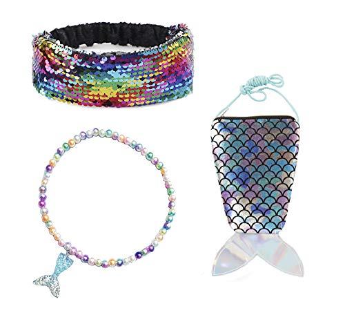 Collar de Cola de Pescado, Diadema con Tapa, Bolsa Cruzada con Purpurina y Accesorios de Sirena, Estilo 1, Talla única