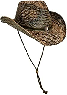 Black Stained Seagrass Western Cowboy Hat with Shapeable Brim and Chin Strap