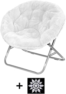Mainstays Faux-Fur Saucer Chair (White)