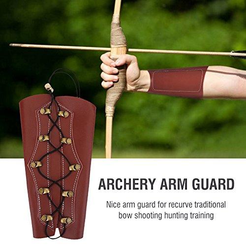 Ever Langlebiges Bogenschießen-Armband Verstellbarer Bogenschützen-Armschutz Schutzgerät Zubehör Leder-Unterarmschutz Bogenschießen-Armschutz Geeignet für Bogenjagdschießen(braun)