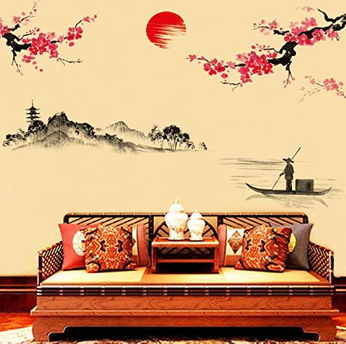 Wandaufkleber 120 * 150cm rote Pflaumen-Blumen-Baum-Aufkleber-Tapeten-Wandaufkleber für Räume