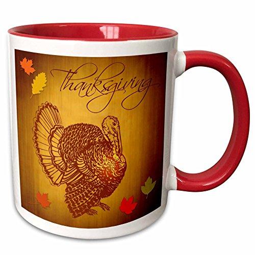 3dRose Thanksgiving Turkey And Fall Leaves Mug, 11 oz, Red