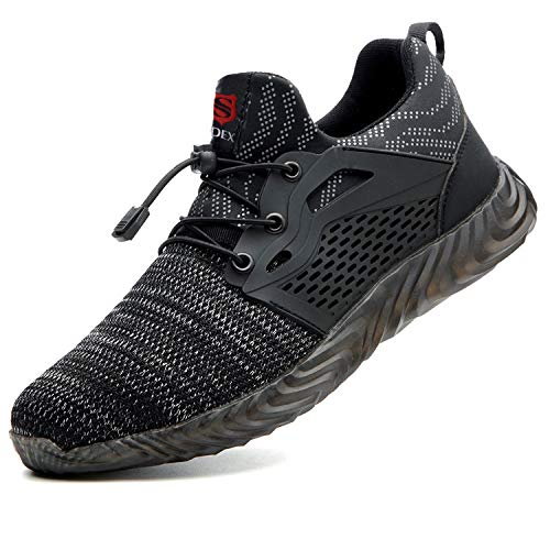 SUADEX Indestructible Steel Toe Work Shoes for Men Women Puncture Proof Composite Toe Working Shoes Grey Black 7.5 Women/6 Men