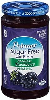 Polaner Sugar Free with Fiber, Seedless Blackberry Preserves, 13.5 Ounce