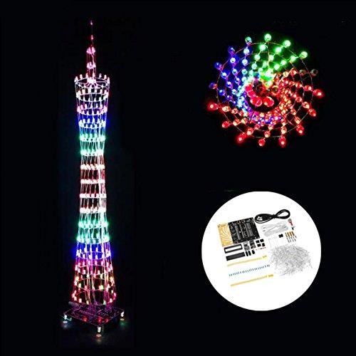 LaDicha DIY WiFi (Versión App) Bluetooth Colorful Canton Tower Led Cubo De Iluminación Kit Electrónico Spectrum Spectrum