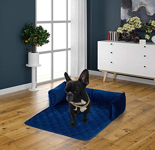 Brilliant Sunshine Premium Silky Velvet Small Pet Couch Sofa Bed, Slip Resistant, Waterproof, with 3-Sides Removable Cushions, Couch Protectors, Furniture Covers for Pets, Dogs, Cats, Small, Navy