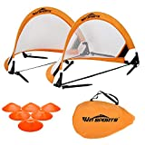 WIn SPORTS Foldable Pop Up Soccer Goal Pro 2 Portable Soccer Nets with Carrying Case and Training Cones,Practice in Backyard,School for Kids and Adults, Choose from 2.5', 4' Sizes