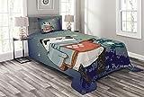 ABAKUHAUS Panda Tagesdecke Set, Panda Bär Winter Nacht, Set mit Kissenbezügen Sommerdecke, für Einselbetten 170 x 220 cm, Mehrfarbig