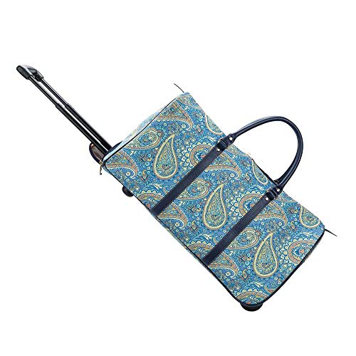 Signare Tapestry Travel Bag Overnight Bags Weekend Bag with Wheel for Women with Pattern Design (Paisley, Pull-PAIS)